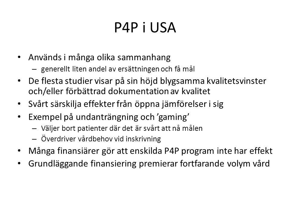 P4P i USA Används i många olika sammanhang