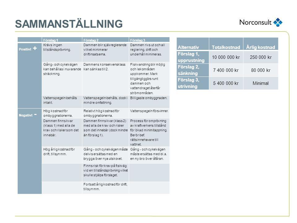 SAMMANSTÄLLNING Alternativ Totalkostnad Årlig kostnad