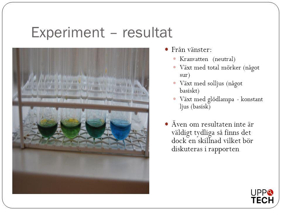 Experiment – resultat Från vänster:
