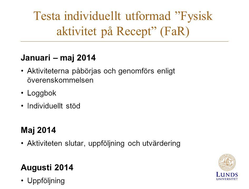Testa individuellt utformad Fysisk aktivitet på Recept (FaR)
