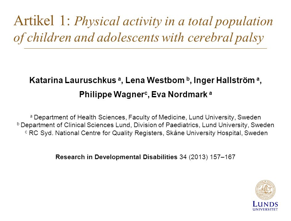 Artikel 1: Physical activity in a total population of children and adolescents with cerebral palsy