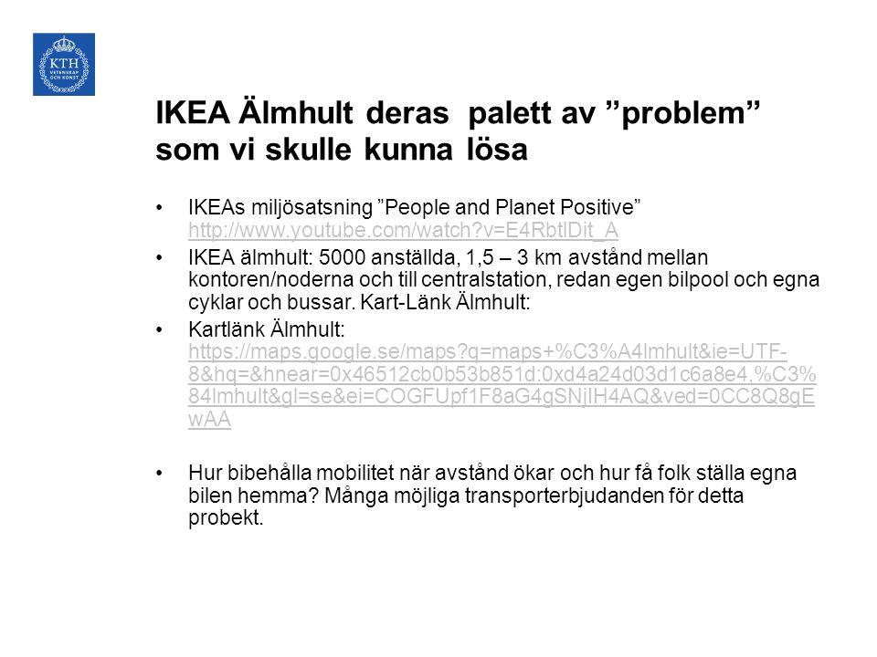 IKEA Älmhult deras palett av problem som vi skulle kunna lösa