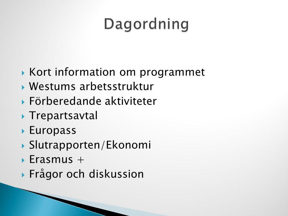 Dagordning Kort information om programmet Westums arbetsstruktur