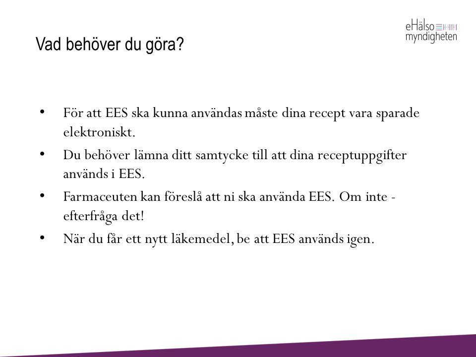 Vad behöver du göra För att EES ska kunna användas måste dina recept vara sparade elektroniskt.
