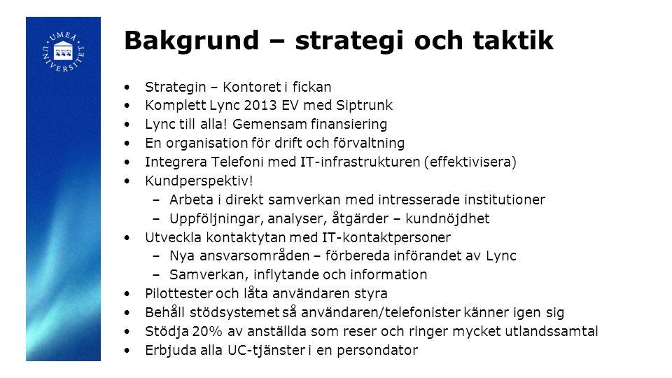 Bakgrund – strategi och taktik