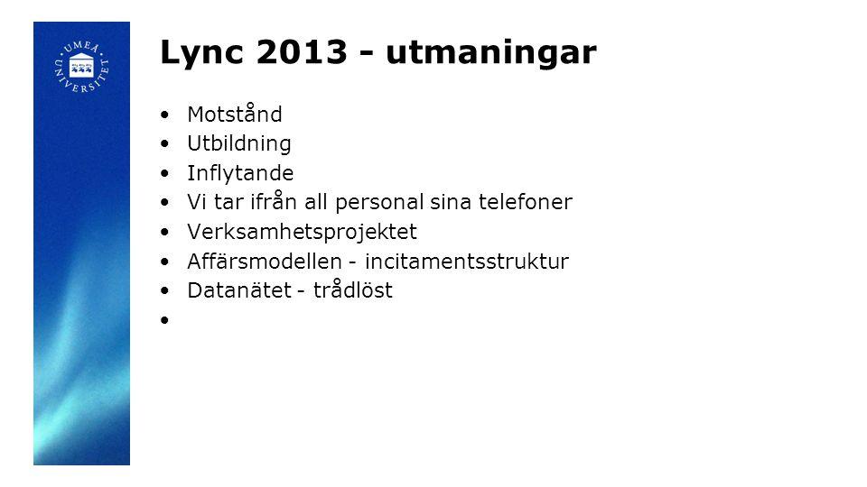 Lync 2013 - utmaningar Motstånd Utbildning Inflytande