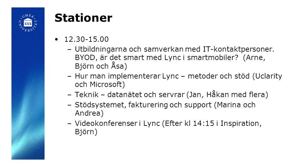 Stationer 12.30-15.00. Utbildningarna och samverkan med IT-kontaktpersoner. BYOD, är det smart med Lync i smartmobiler (Arne, Björn och Åsa)