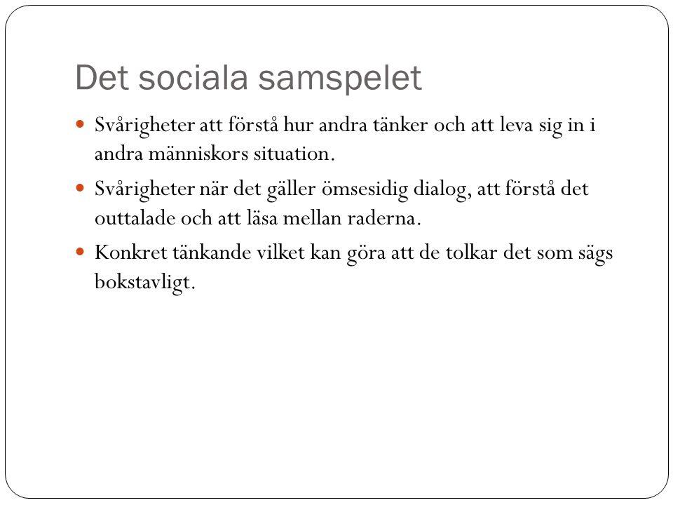Det sociala samspelet Svårigheter att förstå hur andra tänker och att leva sig in i andra människors situation.