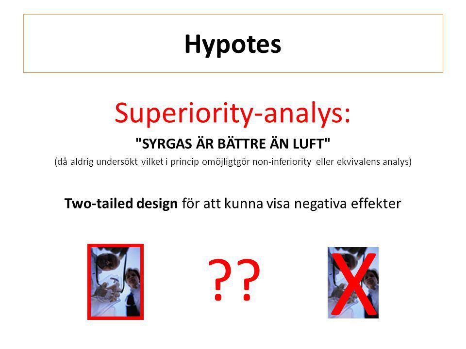X Superiority-analys: Hypotes SYRGAS ÄR BÄTTRE ÄN LUFT