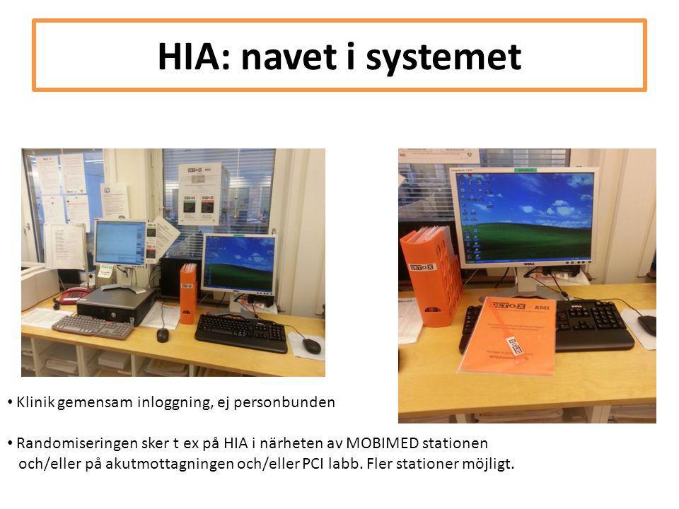 HIA: navet i systemet Klinik gemensam inloggning, ej personbunden
