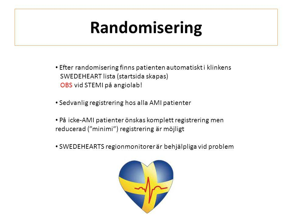 Randomisering Efter randomisering finns patienten automatiskt i klinkens. SWEDEHEART lista (startsida skapas)