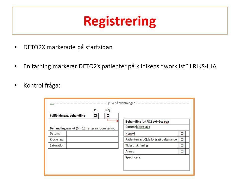 Registrering DETO2X markerade på startsidan
