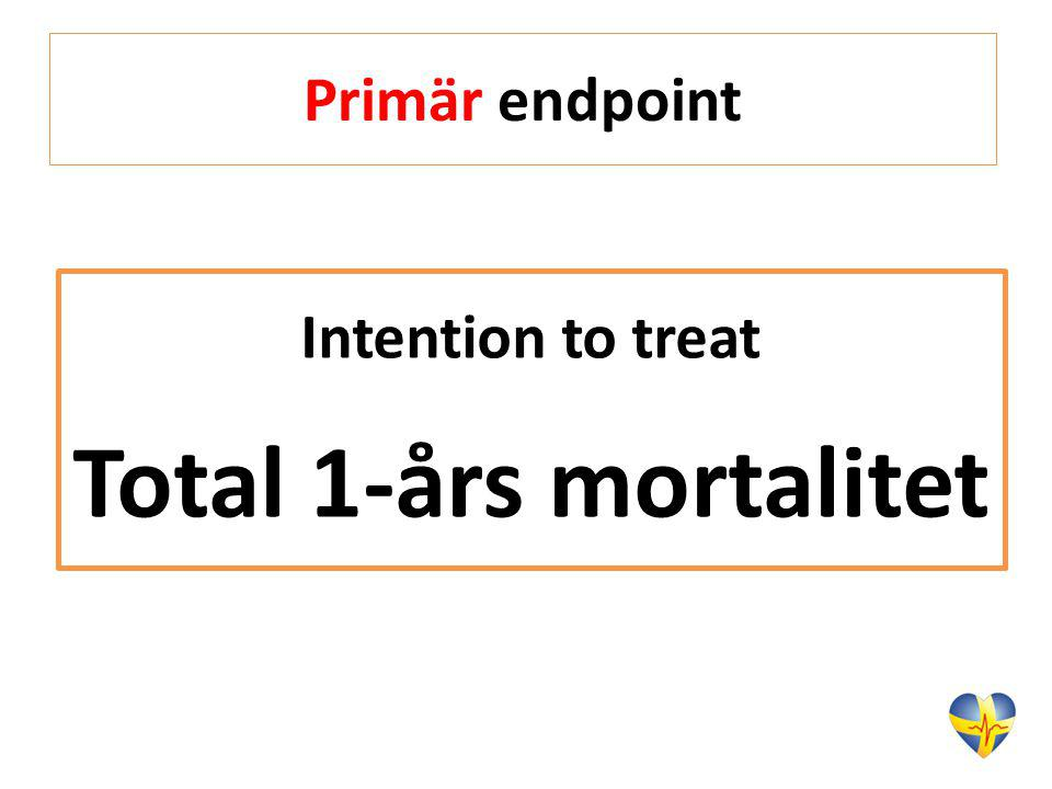 Primär endpoint Intention to treat Total 1-års mortalitet