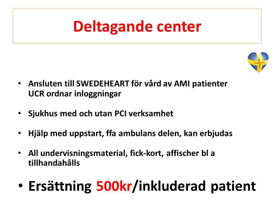 Deltagande center Ersättning 500kr/inkluderad patient