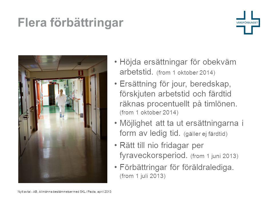 Flera förbättringar Höjda ersättningar för obekväm arbetstid. (from 1 oktober 2014)