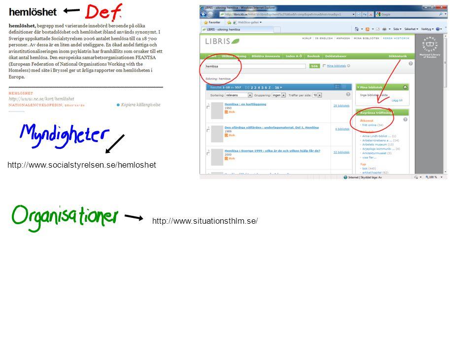 http://www.socialstyrelsen.se/hemloshet http://www.situationsthlm.se/