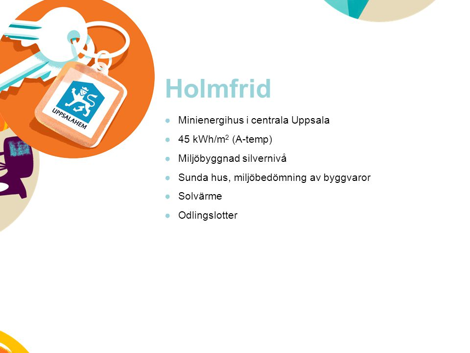 Holmfrid Minienergihus i centrala Uppsala 45 kWh/m2 (A-temp)