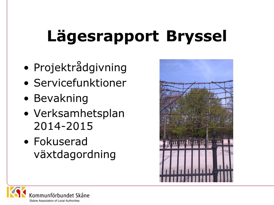 Lägesrapport Bryssel Projektrådgivning Servicefunktioner Bevakning