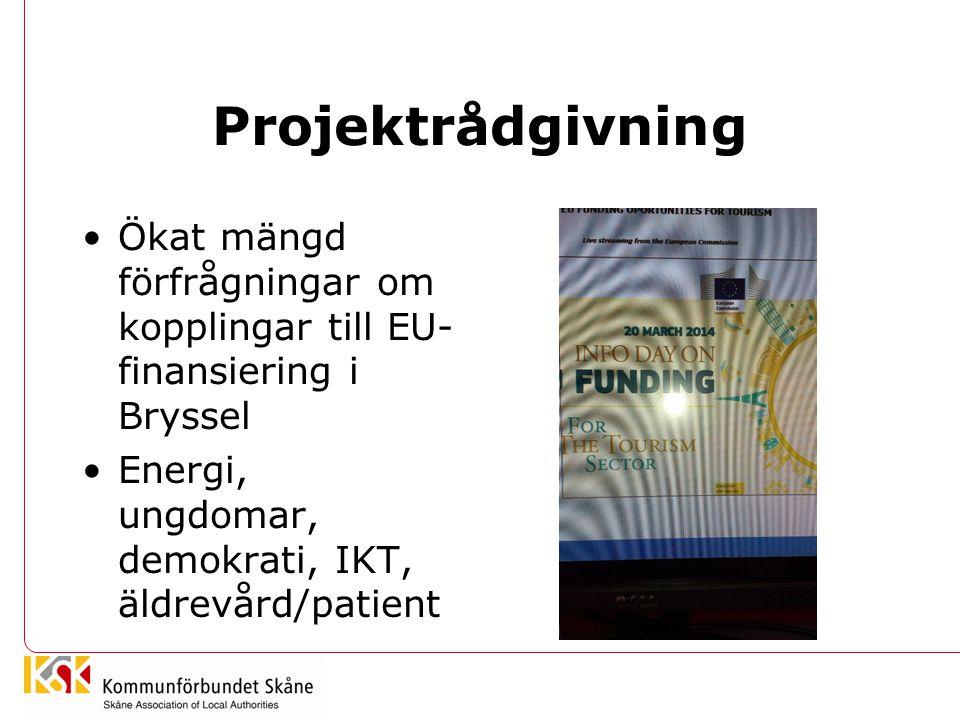 Projektrådgivning Ökat mängd förfrågningar om kopplingar till EU-finansiering i Bryssel.