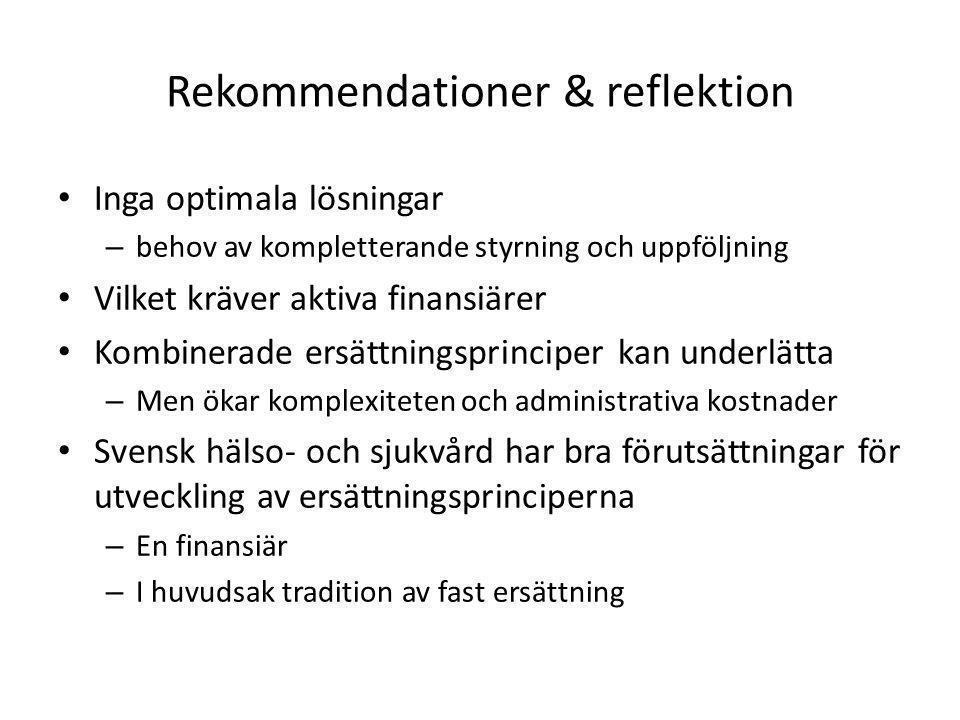 Rekommendationer & reflektion