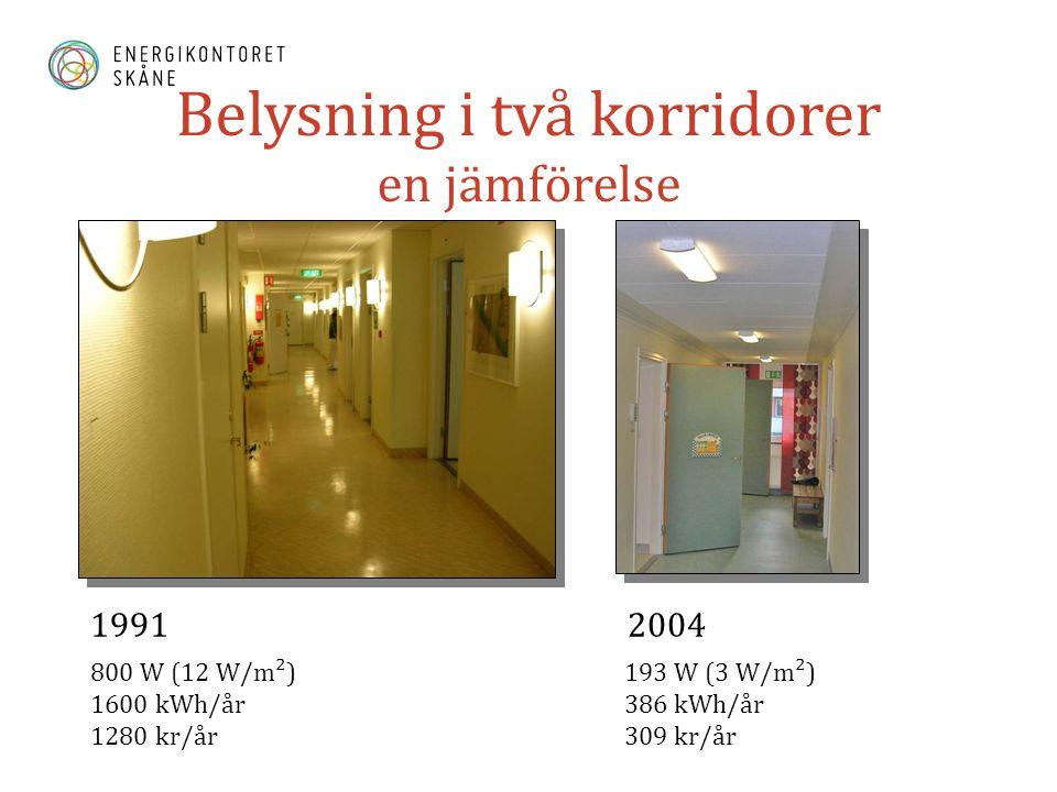 Belysning i två korridorer en jämförelse