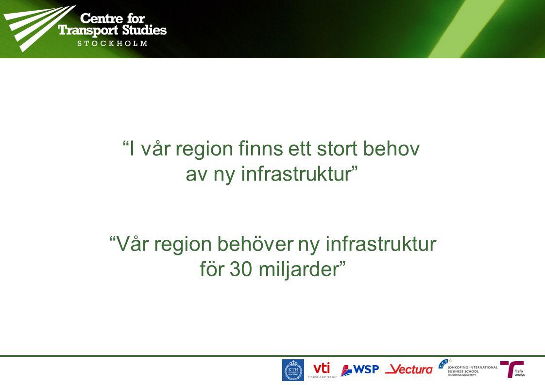 I vår region finns ett stort behov av ny infrastruktur