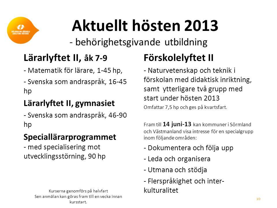 Aktuellt hösten 2013 - behörighetsgivande utbildning