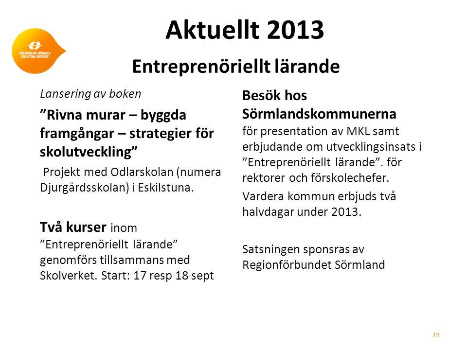 Aktuellt 2013 Entreprenöriellt lärande