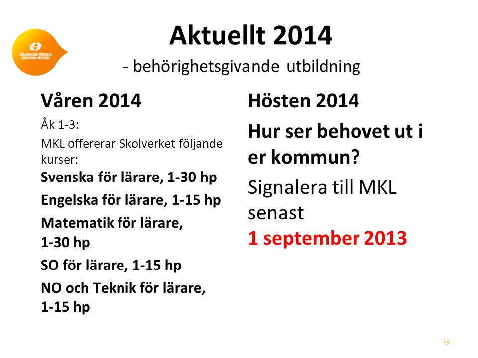 Aktuellt 2014 - behörighetsgivande utbildning