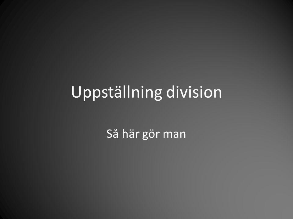 Uppställning division