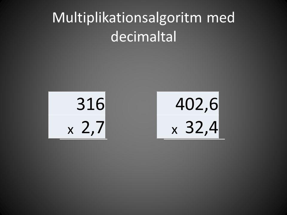 Multiplikationsalgoritm med decimaltal