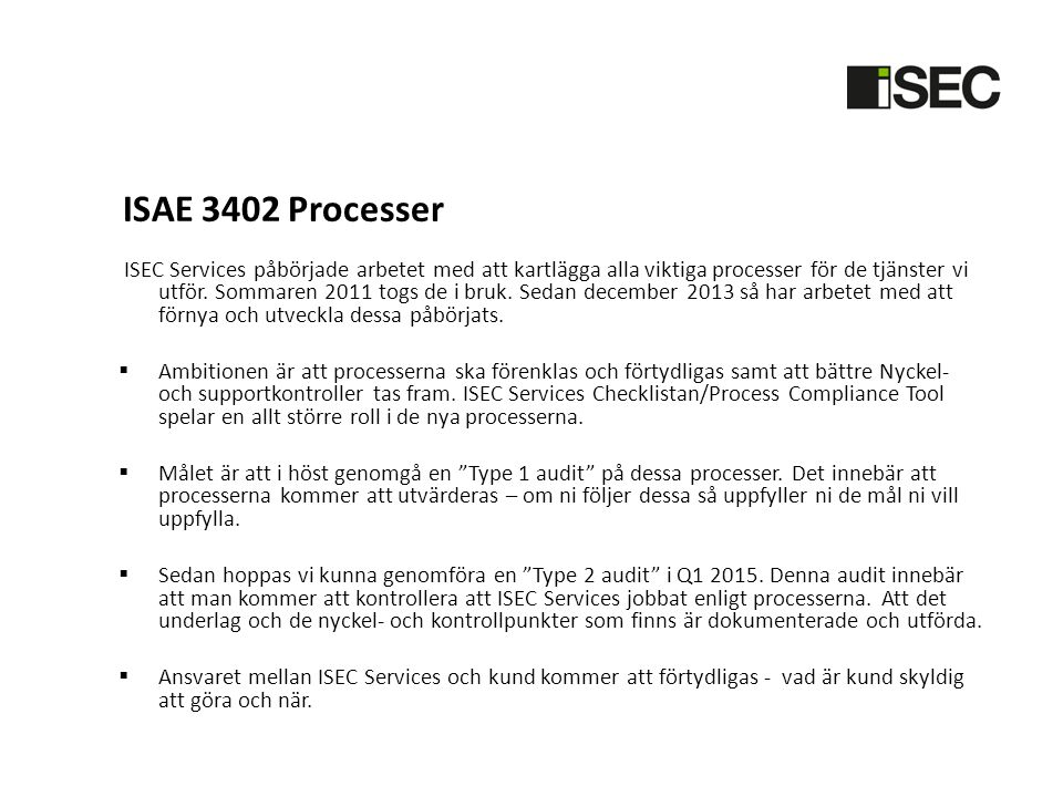 ISAE 3402 Processer