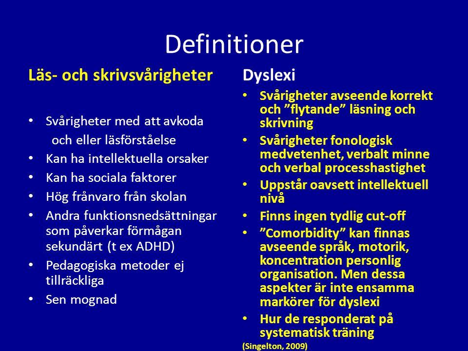 Definitioner Läs- och skrivsvårigheter Dyslexi
