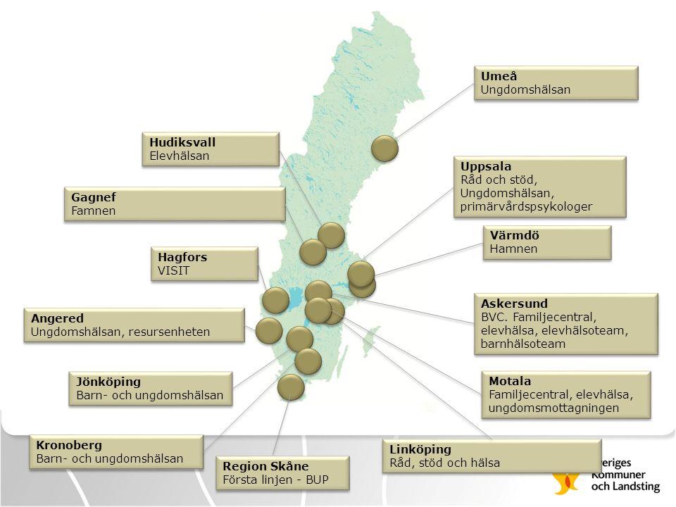 Umeå Ungdomshälsan. Hudiksvall. Elevhälsan. Uppsala. Råd och stöd, Ungdomshälsan, primärvårdspsykologer.