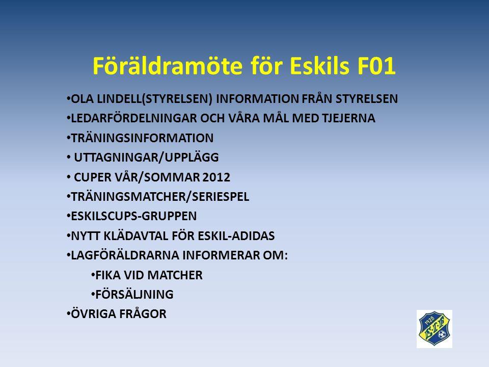 Föräldramöte för Eskils F01