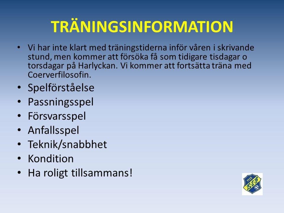 TRÄNINGSINFORMATION Spelförståelse Passningsspel Försvarsspel