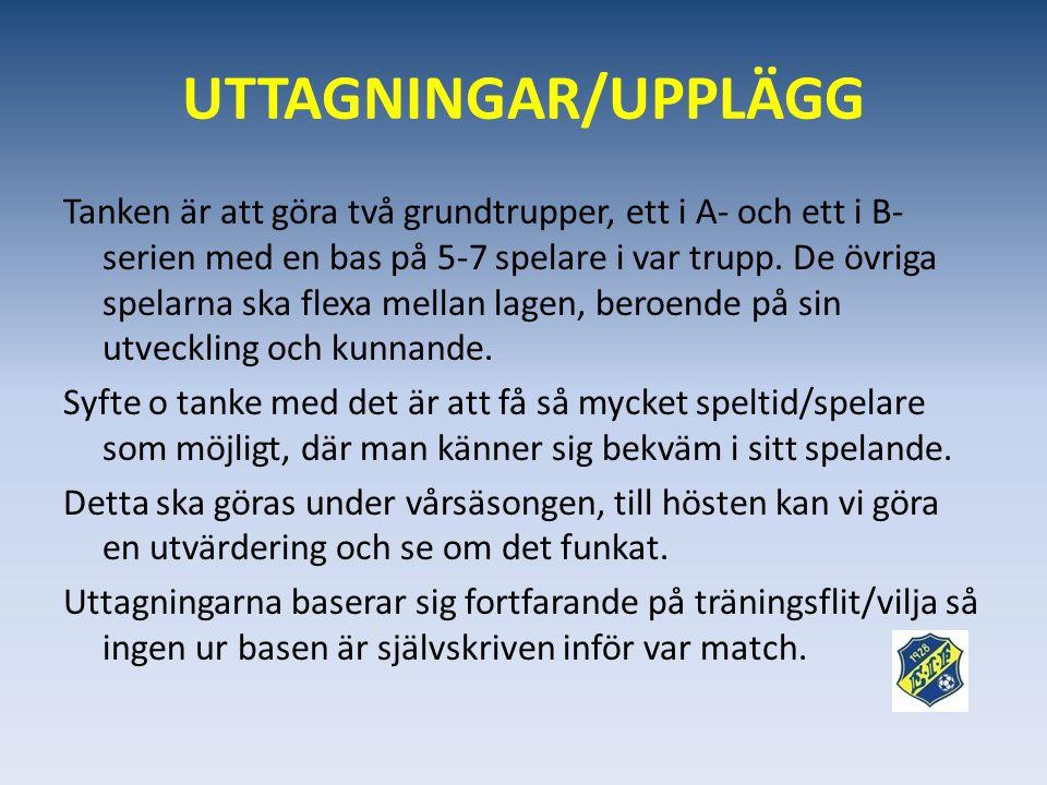 UTTAGNINGAR/UPPLÄGG