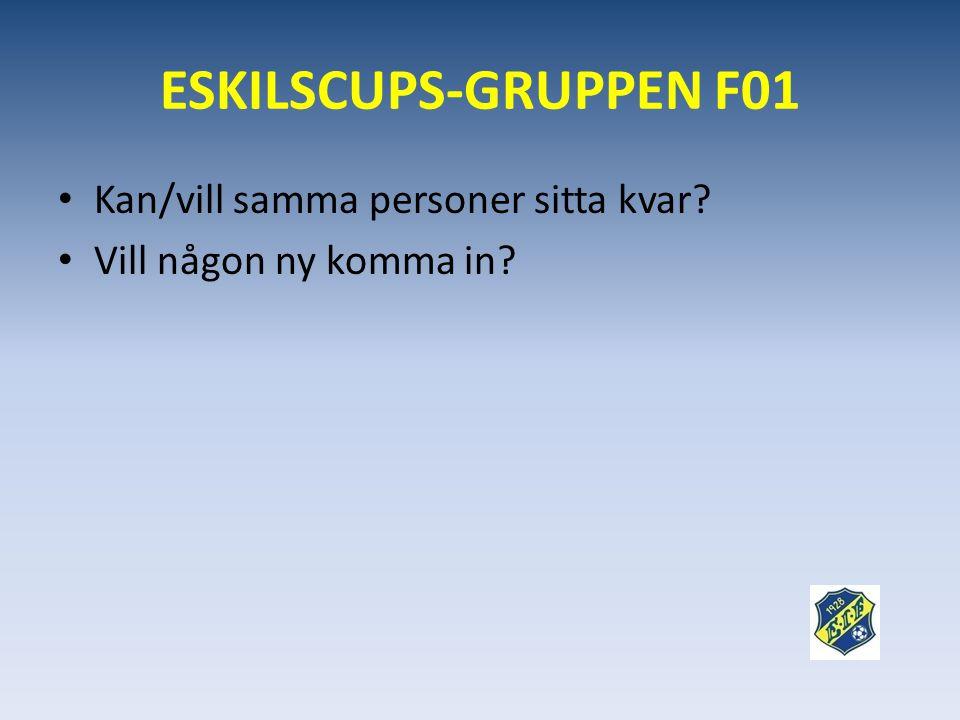 ESKILSCUPS-GRUPPEN F01 Kan/vill samma personer sitta kvar