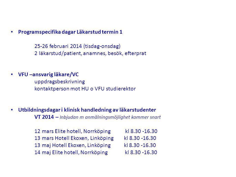 Programspecifika dagar Läkarstud termin 1