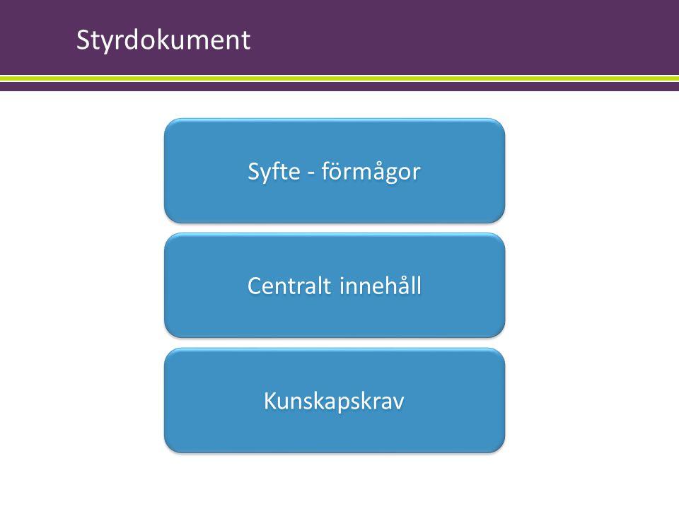 Styrdokument Syfte - förmågor .. Centralt innehåll Kunskapskrav
