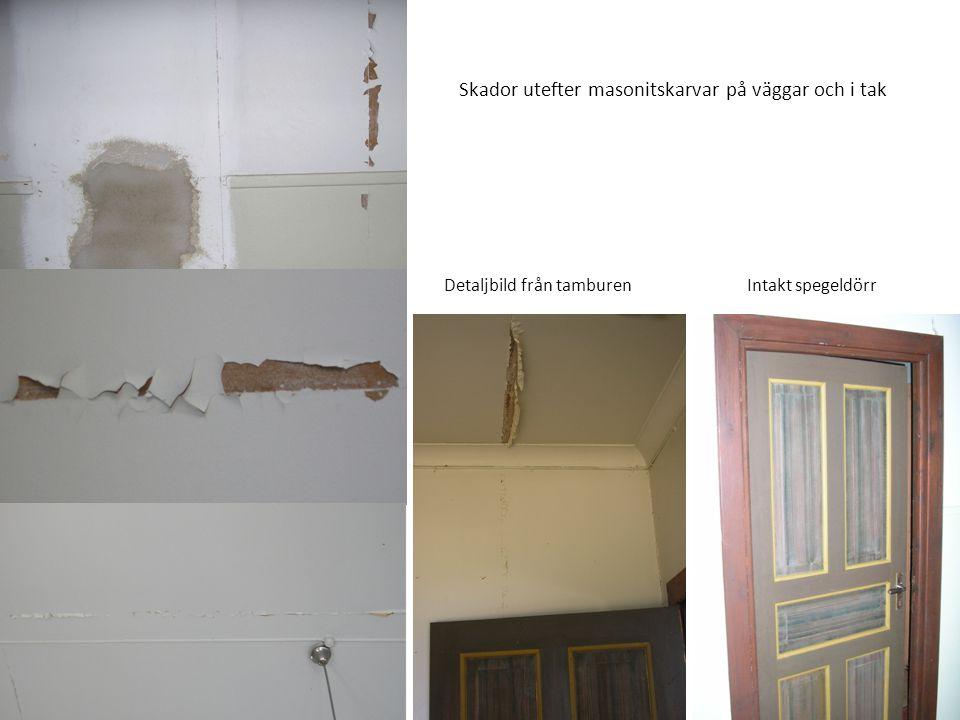 Skador utefter masonitskarvar på väggar och i tak