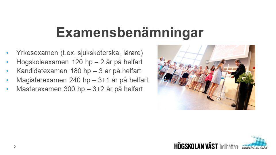 Examensbenämningar Yrkesexamen (t.ex. sjuksköterska, lärare)