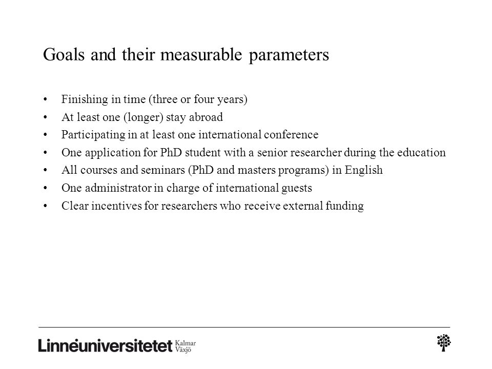 Goals and their measurable parameters