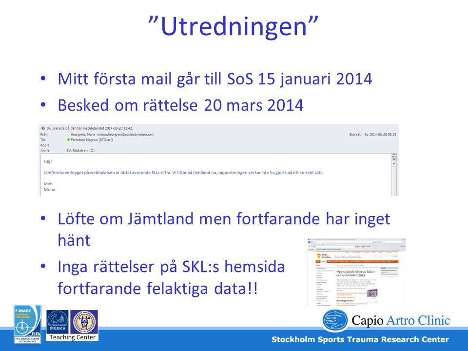 Utredningen Mitt första mail går till SoS 15 januari 2014