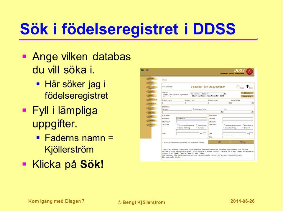 Sök i födelseregistret i DDSS
