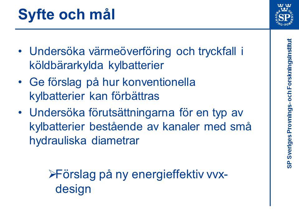 Syfte och mål Förslag på ny energieffektiv vvx-design