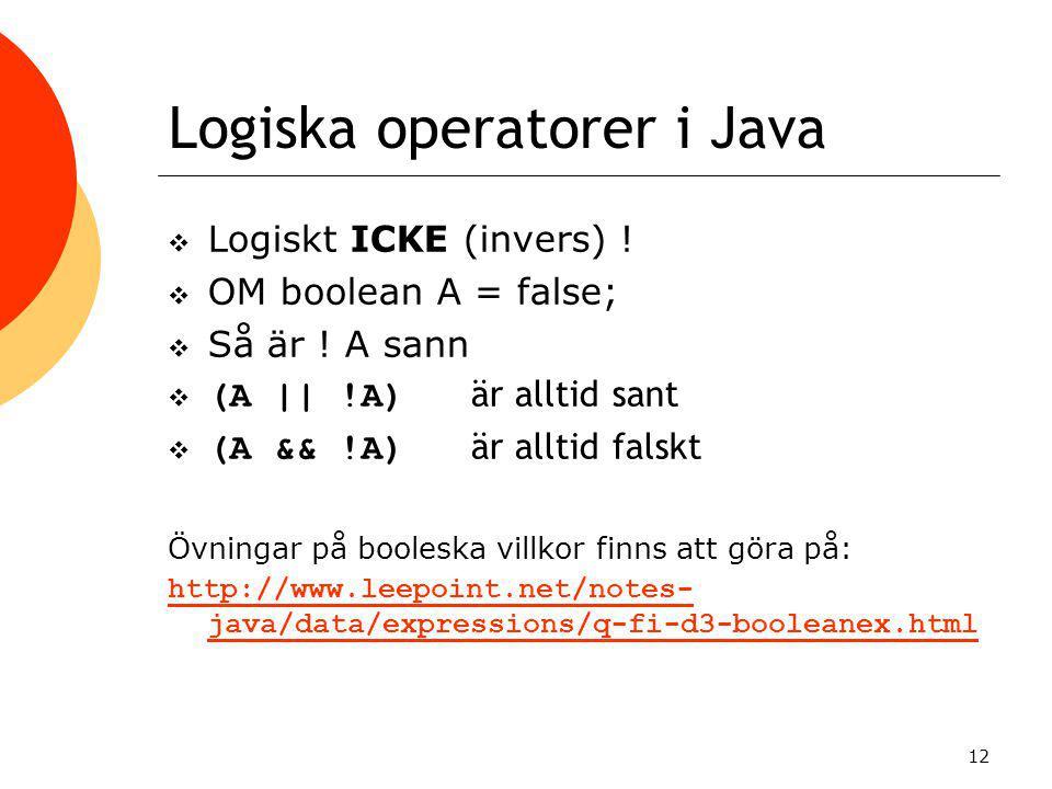 Logiska operatorer i Java