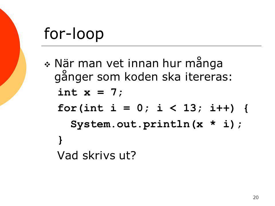 for-loop När man vet innan hur många gånger som koden ska itereras: