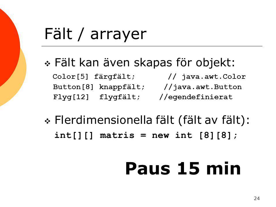 Paus 15 min Fält / arrayer Fält kan även skapas för objekt: