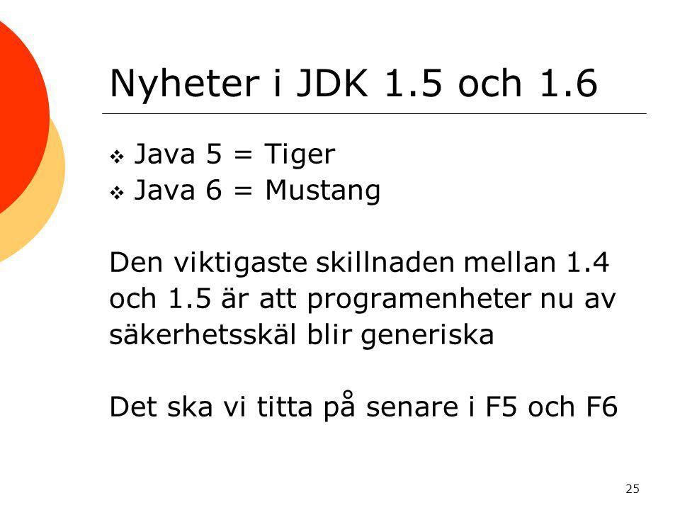 Nyheter i JDK 1.5 och 1.6 Java 5 = Tiger Java 6 = Mustang